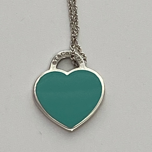 Tiffany & co blue heart necklace 16-18in